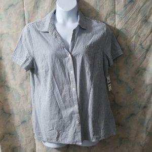 NWT Karen Scott navy pinstripe blouse sz XL